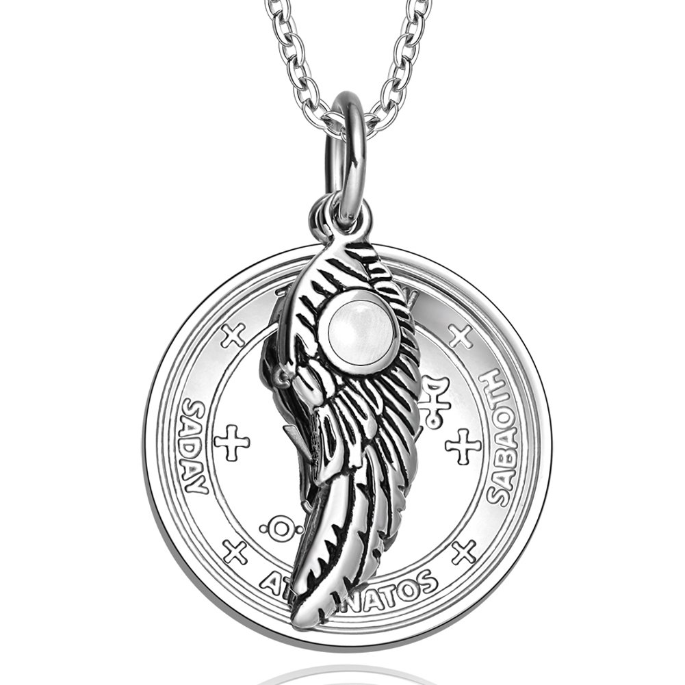 Archangel Michael Sigil Amulet Magic Powers Angel Wing Charm White Simulated Cats Eye 22 Inch Necklace