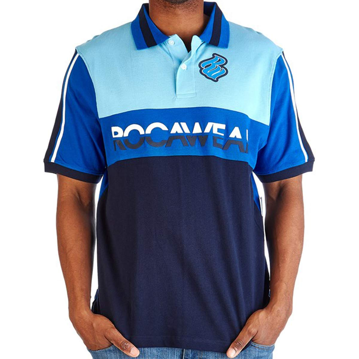 Rocawear Authentic Short Sleeve Mens Blue Classic FIT Polo Shirt