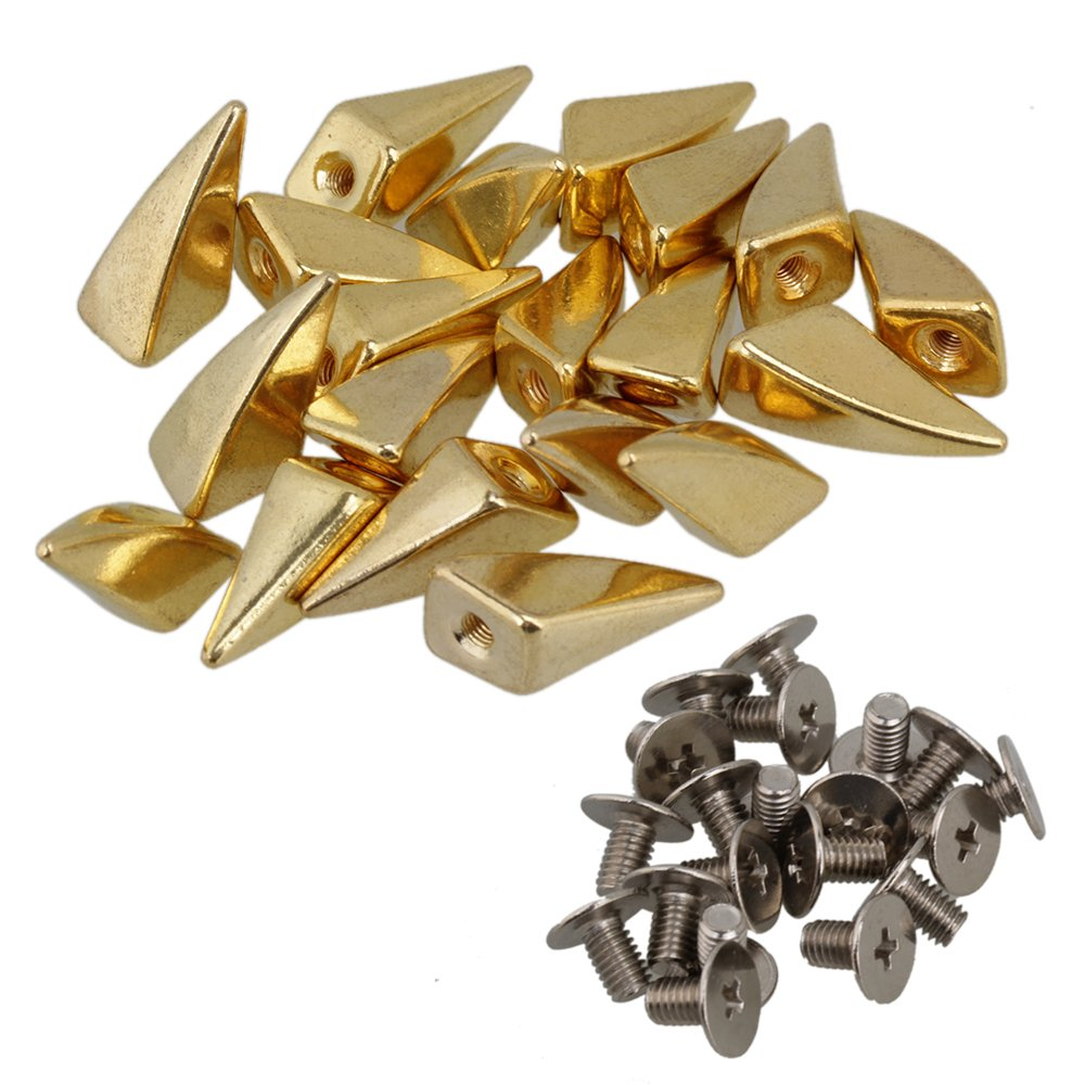 BQLZR Golden Metal Dragon Claw Studs and Spikes Screwback Leathercraft Shark Fin Pack of 20