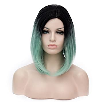 Amazon.com   Ombre Light Green Wigs For Women Bob Middle Part Wigs Short  Straight Wigs Black Root Two Tone Black To Light Green Synthetic Wigs For  Costume ... 6bf4c2cf38