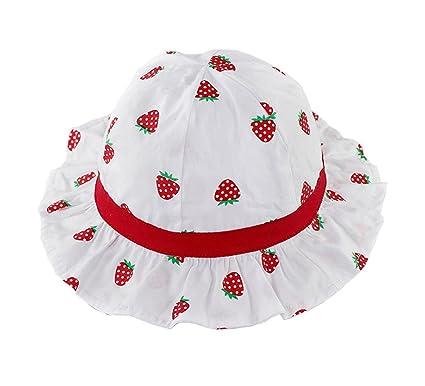 ca429ed6907 ACVIP Baby Girl s Strawberry Print Sun Cap Cotton Summer Beach Hat (XS 0-