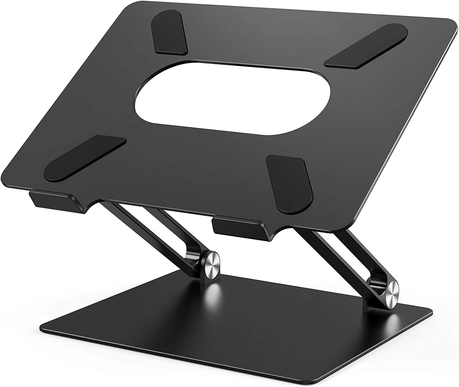 Laptop Stand, Ergonomic Adjustable Notebook Stand, Aluminum Portable Computer Riser with Heat-Vent Foldable Desktop Laptop Holder Compatible with MacBook Air Pro, All 10 to 17 Inch Laptops(Black)