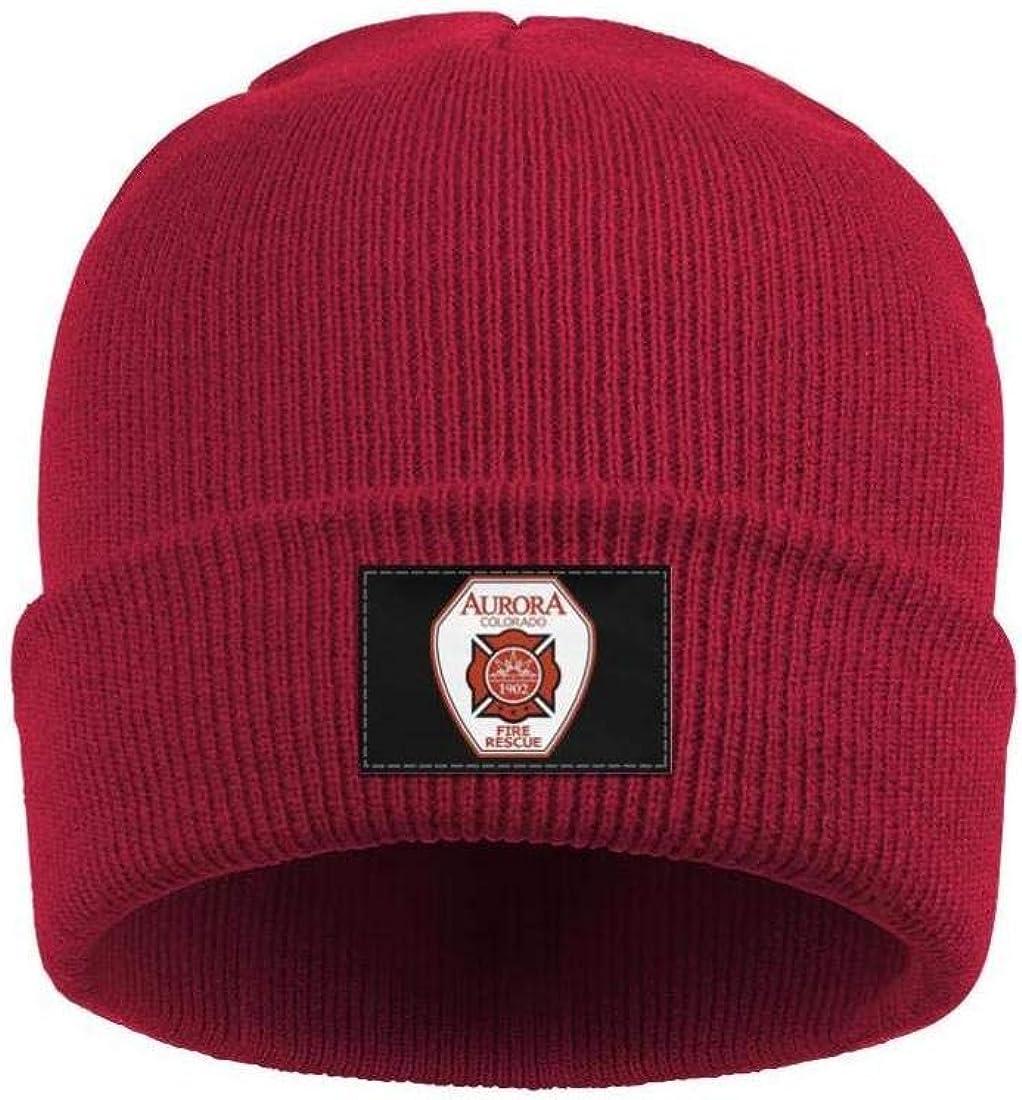DXQIANG City-of-Aurora-FIRE-and-Rescu Men Women Fine Knit Beanies Hat Slouchy Skull Knit Cap