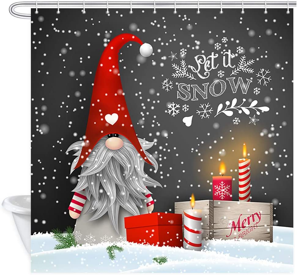 JAWO Christmas Decor Shower Curtain, Traditional Scandinavian Dwarf Tomte Gnome with Candles and Gift Boxes on Black Background, Polyester Fabric Bath Curtains Set with Hooks 69W X 70L Inches