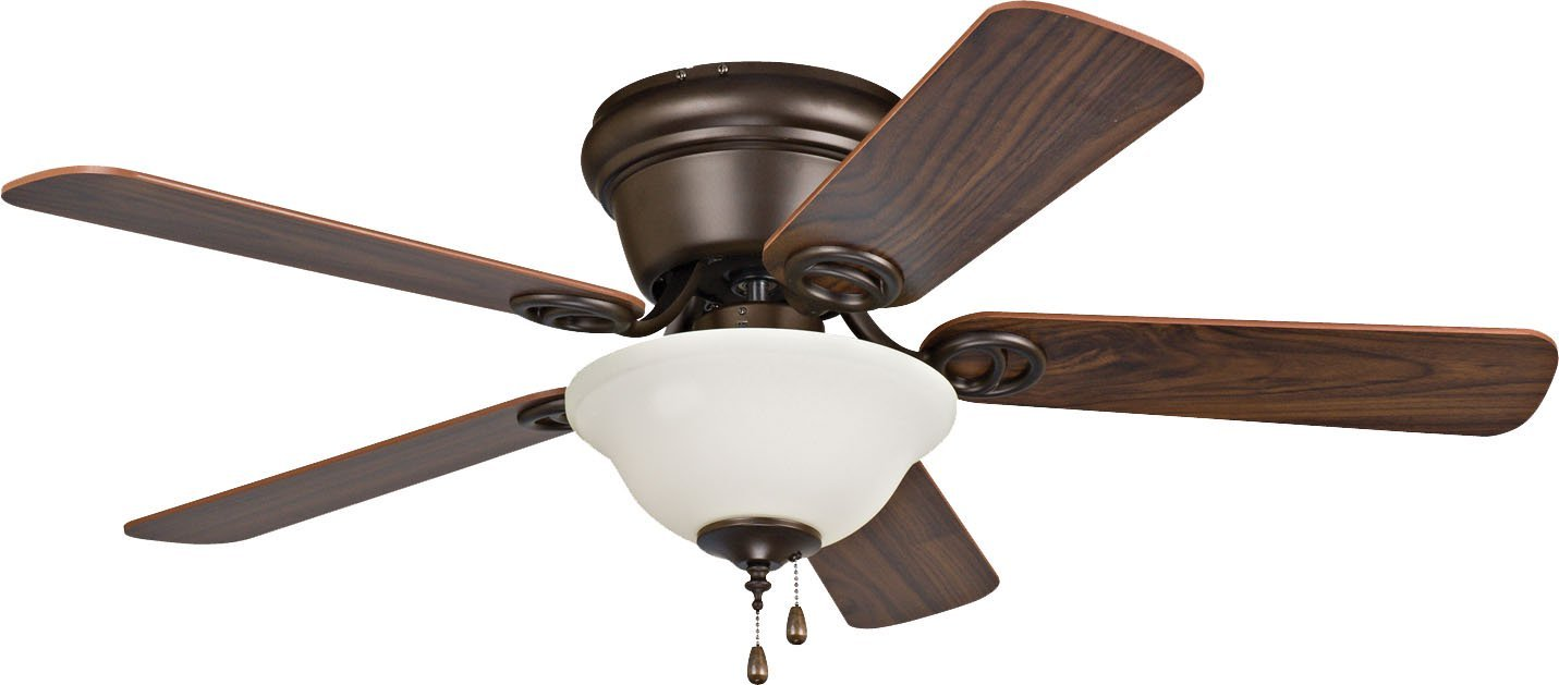 Litex Industries/Ellington WC42ORB5C1 Wyman Hugger Mount Ceiling Fan with Bowl Light, Antique Bronze with Walnut Blades, 42'' by Craftmade