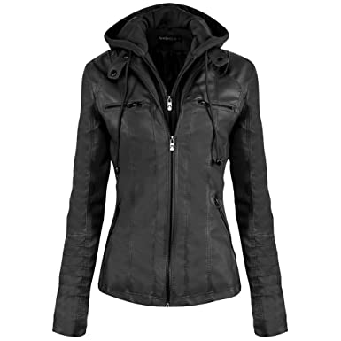 Newbestyle Women Hooded Faux Leather Jacket Hat Detachable Zipper ...