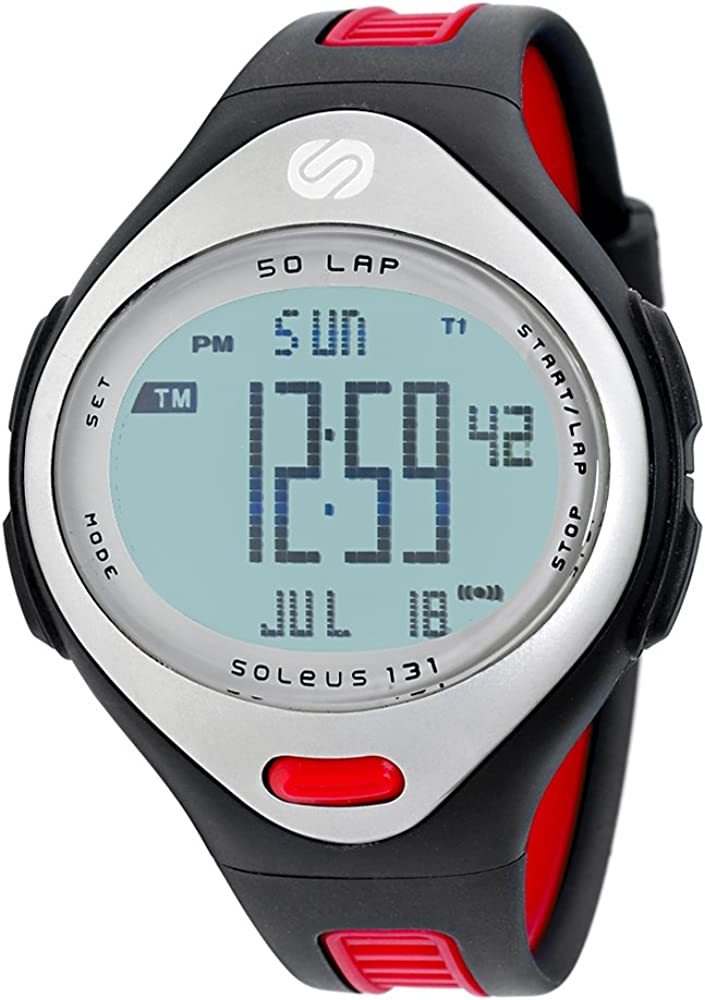 Soleus Men s SR004239P 131 Large Black and Red 50 Lap Digital Sports Watch