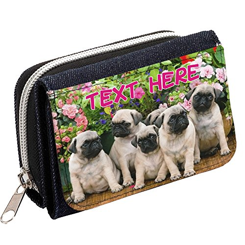 Personalised Ladies Purse with Cute Pug Picture or Add your Own Photo /& Name