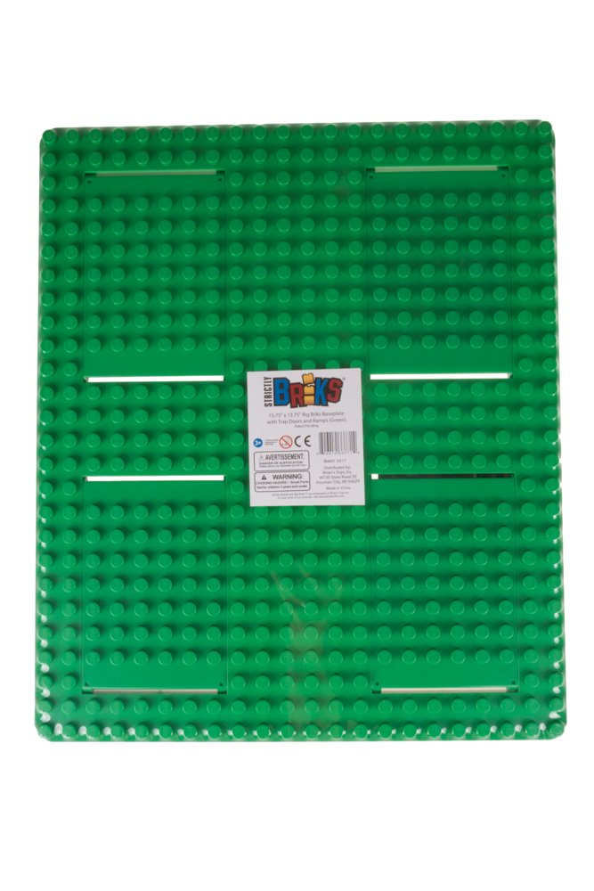 13.75 x 16.25 Building Brick Large Pegs for Toddlers Strictly Briks Classic Big Briks Baseplate with Gaps 100/% Compatible with All Major Brands Tight Fit Stackable Base Plate Green