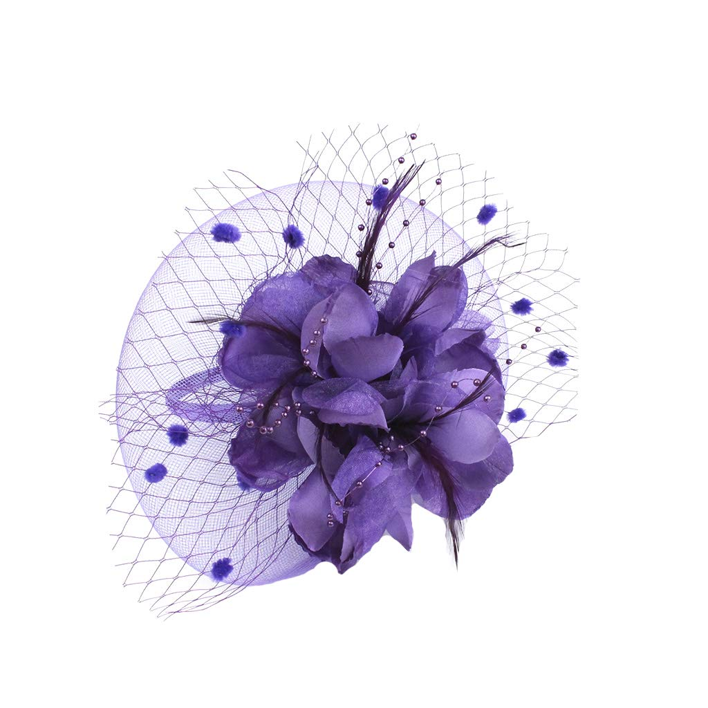 FORLADY Temperamatite Temperamento Elegante maglia a rete fiore Feather Fascinator Clip di capelli cappello Banchetto Wedding Barrettes