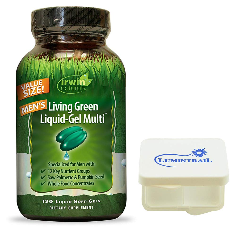 Irwin Naturals Men's Multivitamin Living Green Liquid-Gel Multi Essential Nutrients and Whole Foods Supplement - 120 Liquid Soft Gels Bundle with a Lumintrail Pill Case