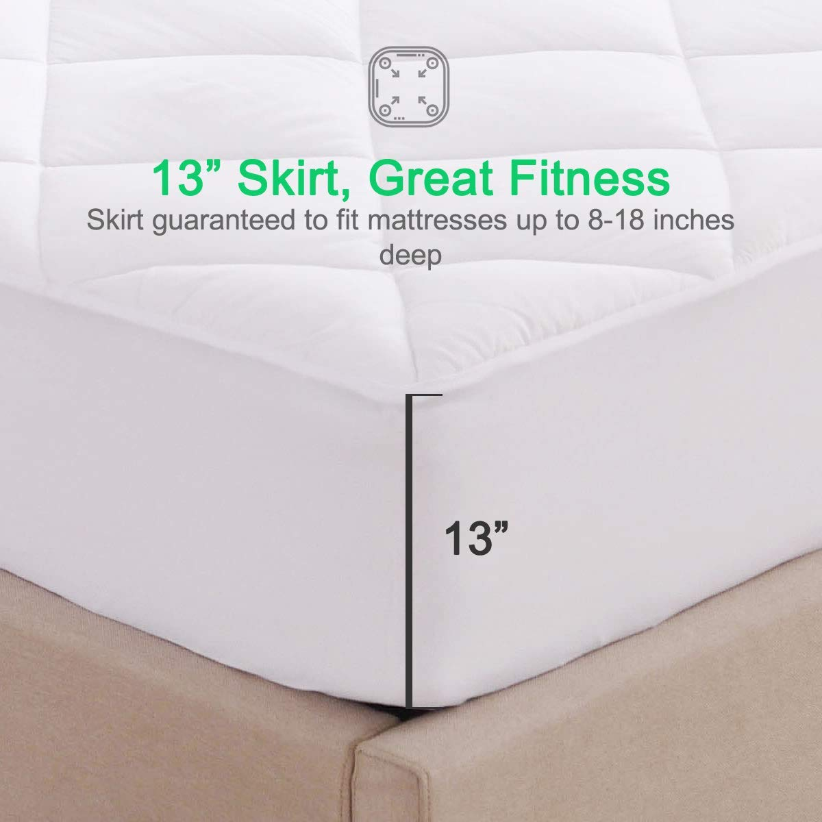 "DOMDEC Quilted Mattress Pad /& Protector Stretches Up to 21 Inches Top Climaloft Blalance Hypoallergenic Down Alternative Fill Cooling Mattress Topper King, Microfiber//13/""-Medium Weight"