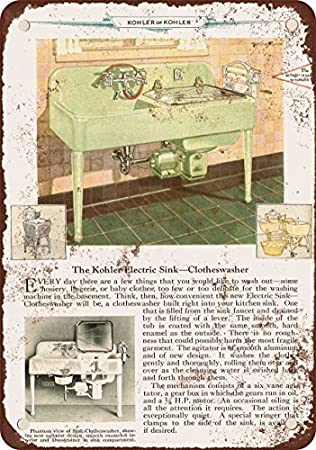 1929 Kohler Electric Sink Clothes Washer Vintage Look Reproduction Metal  Signs 12X16 Inches