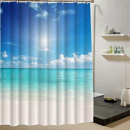 180x180cm Polyester Fabric Shower Curtain Beach Theme Drape For Wet Room Decor Blue Aqua