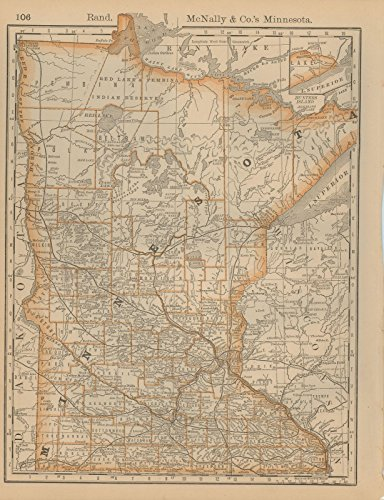 Historic Pictoric Map | Minnesota 1877 | Business Atlas of The USA | Vintage Poster Art Reproduction | 24in x 18in