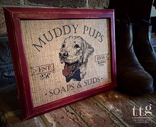 "Burlap ""Muddy Pups Soaps and Suds"" Print - Home Decor - Housewarming Gift - Bathroom Home Decor - Mud Room - Laundry Wash - Dog Lover Sign"