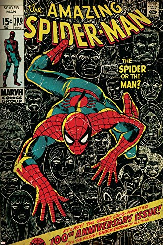 Marvel Comics Retro: The Amazing Spider-Man Comic Book Cover No.100, 100th Anniversary Issue (aged) Poster 24 x 36in