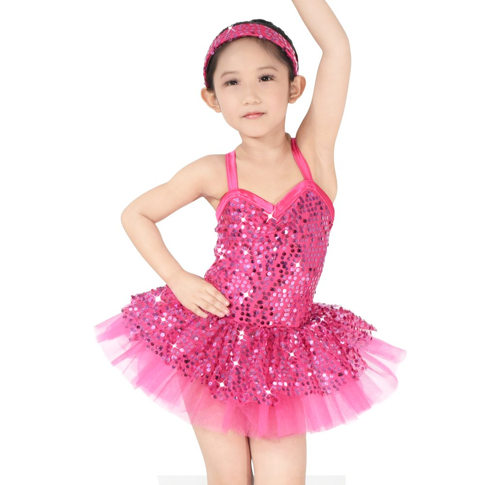 c6a36023f5dd Amazon.com: MiDee Ballet Costume Tutu Leotard Dance Dress for Little Girl's  Camisole Full Sequins: Clothing