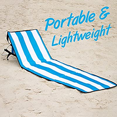 Beach Chair – June & May Beach Chairs, Compact, Portable, Light-weight, Easy Set-Up, with Storage Pouch and Adjustable Back Beach Chair