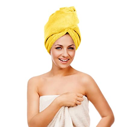 Twisty Turban Microfiber Super-Absorbent Hair Towel (Yellow) by Beaut (TM)