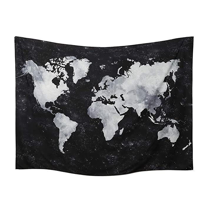 World Map Tapestry Wall Hanging Watercolor Art Decor Abstract Dorm Large Vintage Geography Earth Globe Tapestries Hangings (Black and White, 59.1