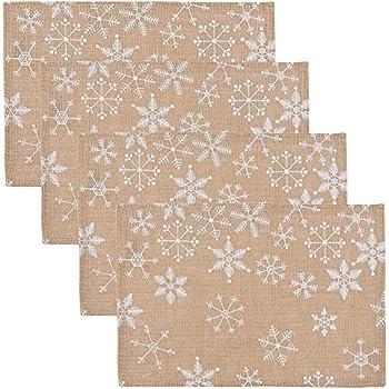 Now Designs Burlap Placemats, Set of Four, Snowflake Design