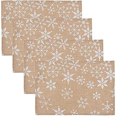 Now Designs Burlap Placemats, Set of Four, Snowflake Design - This set includes four matching placemats Placemats are made of burlap and feature a white snowflake pattern Each placemat measures 12 inches wide and 18 inches long - placemats, kitchen-dining-room-table-linens, kitchen-dining-room - 61bl1CwahpL. SS400  -