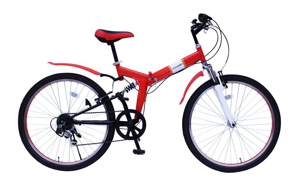 FIELD CHAMP (フィールドチャンプ) 26インチ 折畳自転車 レッド Wサス B07D7L22PP