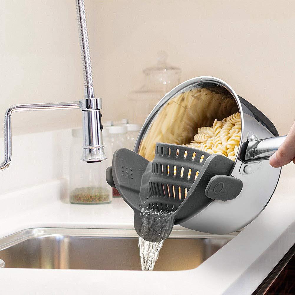 KINJOHI Silikon Pot Pan Clip-on Strainer Deiner Colander Pasta Noodle Gem/üsefilter