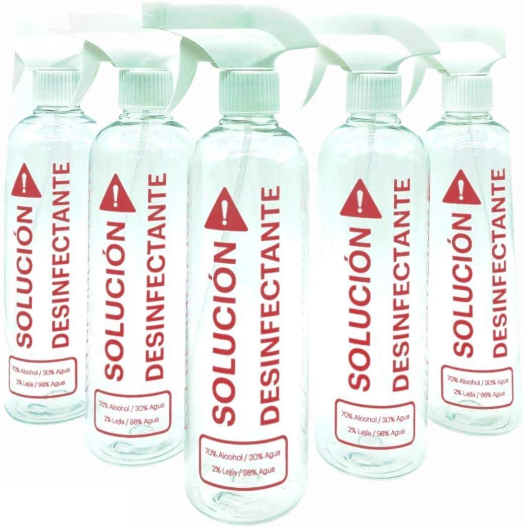 Botella Spray pulverizador de plástico reciclable vacío 500ml transparente rellenable marcado con Solución desinfectante, 3 modos. Pack 5 botellas para limpieza. Uso profesional y doméstico.