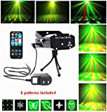 Laser Lights Projector Club Dj Disco Bar Stage House LED Lighting Light Mini Protable Voice-activated Multi-pattern Version, Remote Control (dark black)