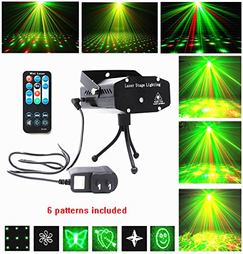 LED Lights Projector Club Dj Disco Bar Stage House Lighting Light Mini Protable Voice-activated Multi-pattern Version,Remote Control