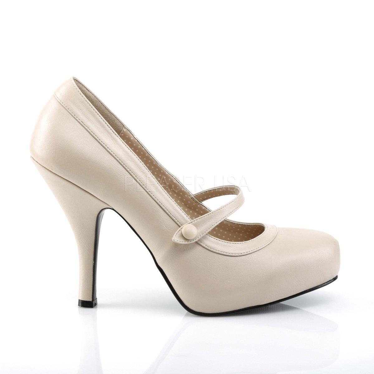 Higher-Heels Rosa Label Gr. Damen Mary Janes Pinup-01 Creme matt Gr. Label 45 4f610e