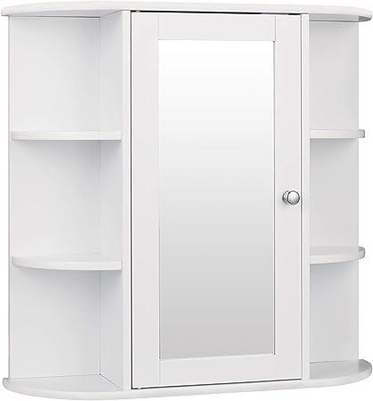 eSituro SBP0030 Armoire de Toilette avec Miroir et Porte Style  Moderne,Meuble de Salle de Bain de Rangement Blanc
