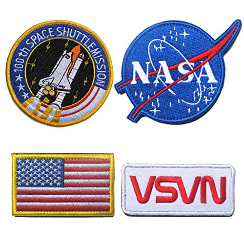 Logo Cycling Cap (SpaceAuto Bundle 4 Pieces Hook & Loop Velcro Military Tactical Morale Badge Emblem Patch - NASA Logo,100th Space Shuttle Mission, Golden Red USA Flag, NASA)