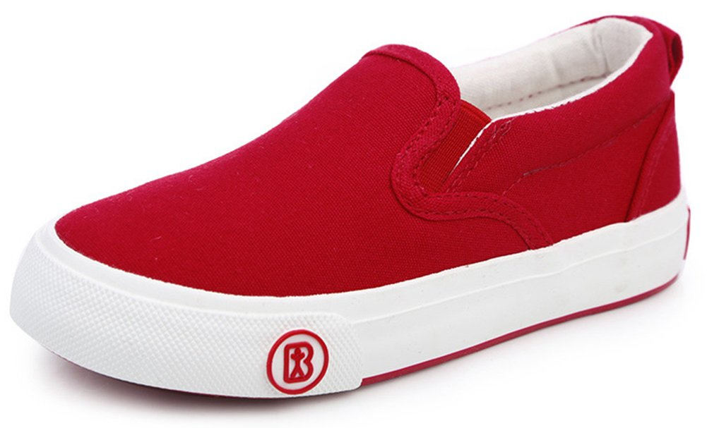 SFNLD InStar Kids' Classic Round Toe Low Top Slip on School Loafers Canvas Shoes Red 10 M US Toddler