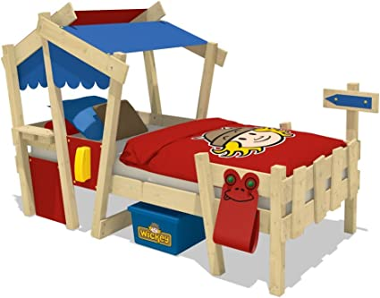 WICKEY Cuna CrAzY Candy Cama para niños Cama infantil 90x200cm con somier de madera, rojo-azul