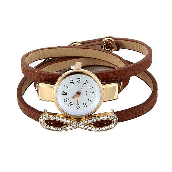 Para mujer pulsera relojes Cooki en venta aclaramiento 8 patrón Lady relojes mujer relojes analógico de cuarzo cuero barato Relojes para women-a127: ...