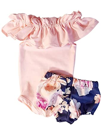 76e91f648d82 Newborn Baby Girl Jumpsuit Bodysuit Pink Sleeveless Ruffles Off-Shoulder  Romper +Floral Shorts Summer Outfit Set