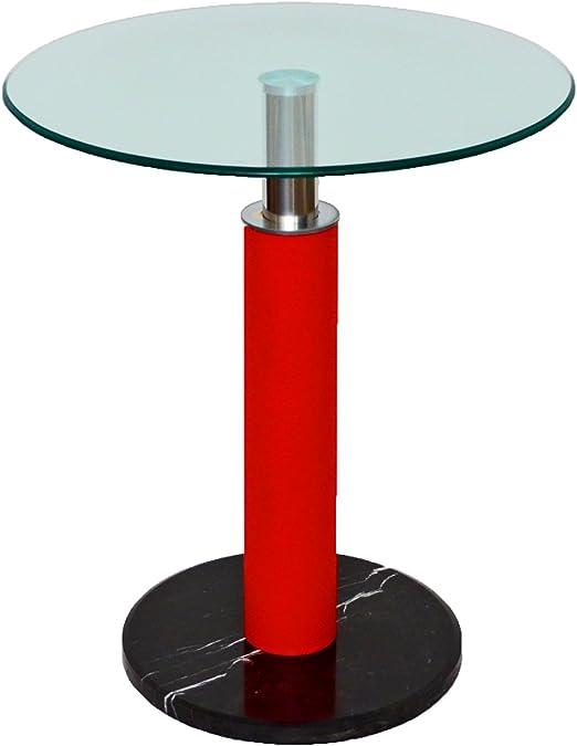Mesa redonda de café o de bar negra y roja, 60 cm de diámetro. Con ...