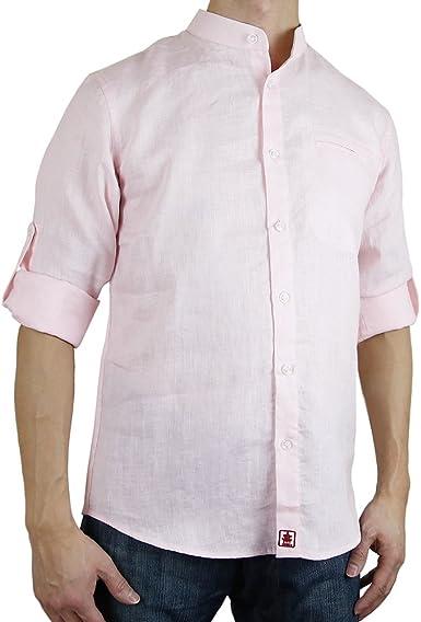 Sinologie - Camisa Casual - Cuello Mao - para Hombre: Amazon.es: Ropa y accesorios
