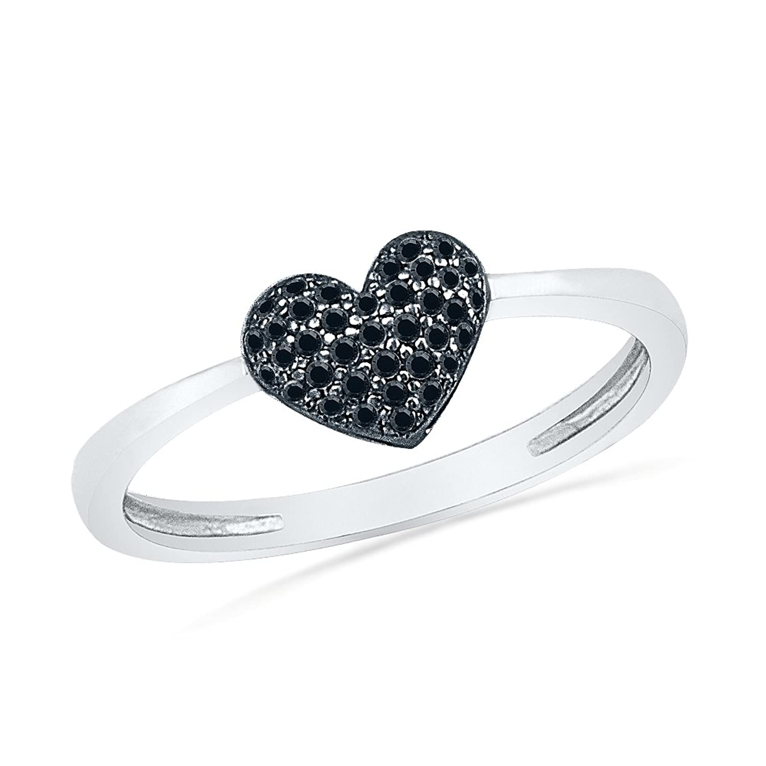 Sterling Silver Black Round Diamond Heart Ring (0.12 cttw)