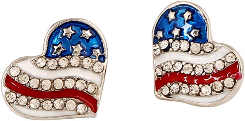 nicebuty pendientes Piercing para Mujer con perla blanca meilleures Bijoux para damas niñas # bandera americano en forma de corazón # X 1: Amazon.es: Belleza