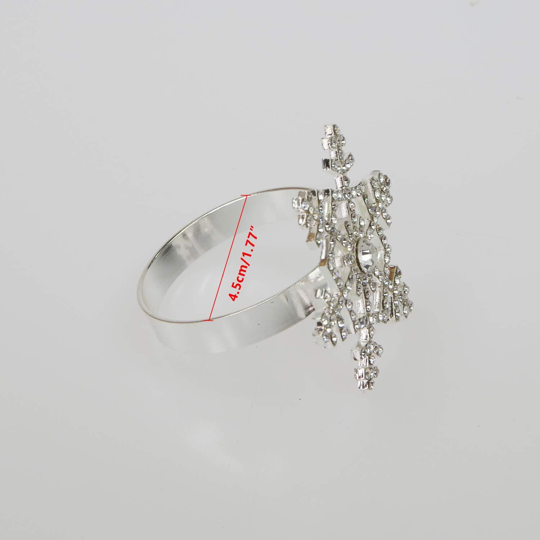 Poitemsis set da 6 decorazione natalizia per la tavola del Ringraziamento Portatovaglioli in argento a forma di fiocco di neve con diamante Fiocco di neve argentato.