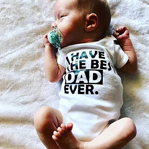 Honganda Infant Newborn Baby Girl Boy Short Sleeve White Dad Mom Bodysuit Romper Outfit Clothes
