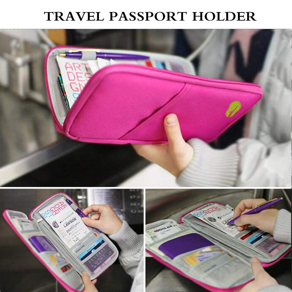 LINSUNG Passeport//Porte-organisateur de Cartes en PU Cuir Accessoires de Voyage Bleu-1pc