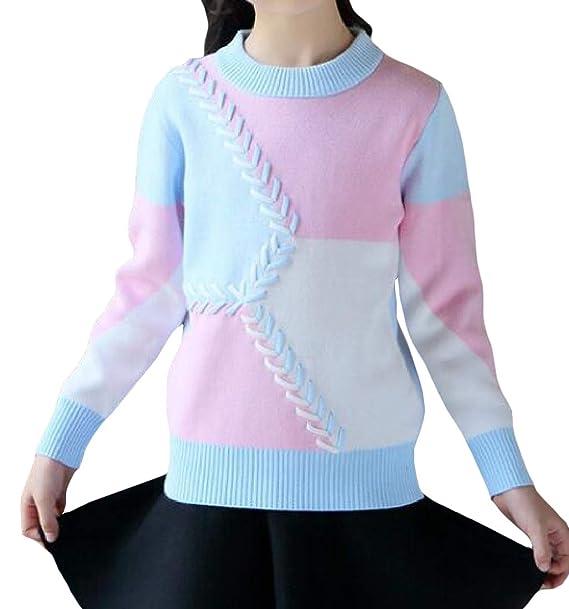 Amazon.com  JuJuTa Girls  Comfy Crew Neck Color Block Pullover Sweaters   Clothing 039c26ea6