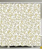 Gold Shower Curtain Gold Shower Curtain Cottage Decor by Ambesonne, Paisley Floral Damask French Vintage Ornament Theme, Polyester Fabric Bathroom Shower Curtain Set with Hooks