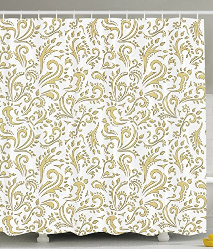 Ambesonne Gold Shower Curtain Cottage Decor by, Paisley Floral Damask French Vintage Ornament Theme, Polyester Fabric Bathroom Shower Curtain Set with Hooks