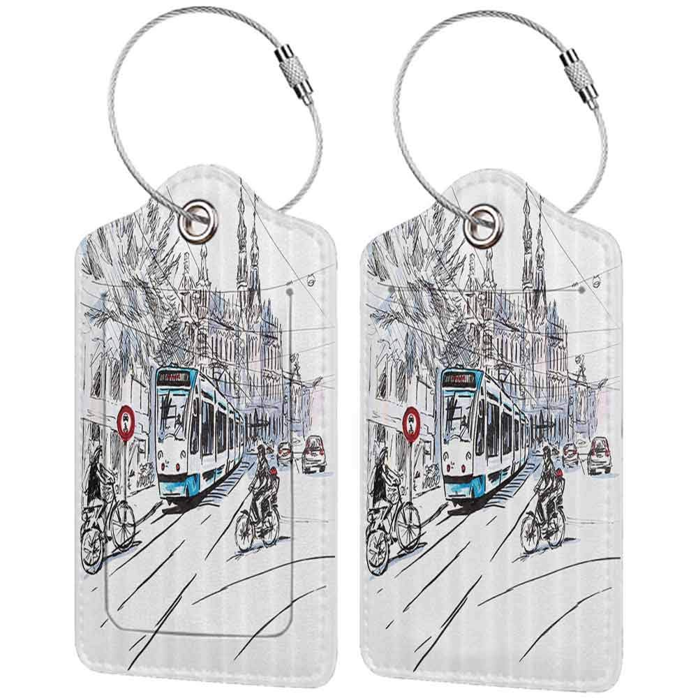 Printed luggage tag Sketchy Hand Drawn Tram and Bicyclists Cityscape of Amsterdam Netherlands Urban Life Protect personal privacy Blue Lilac White W2.7 x L4.6